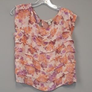 Decree floral ruffled blouse top size Large